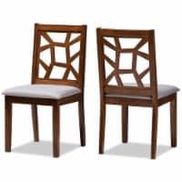 Baxton Studio Abilene Dining Side Chair in Walnut and Grey (Set of 2) - 1