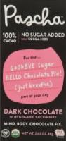 Pascha 100% Cacao Sugar Free Organic Dark Chocolate Bar