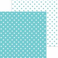 Doodlebug Petite Swiss Dot Cardstock 12 X12 -Swimming Pool - 1