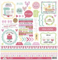 Doodlebug This & That Cardstock Stickers 12 X12 -Made With Love - 1