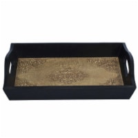 Benzara Handmade Serving Tray With Embossed Brass Work In Wood Frame - Brown/Black