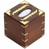 Benzara Handmade Wooden Tissue Dispenser Box With Brass Inlaid - Brown