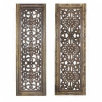 Benzara Hand Carved Wooden Wall Panels Wall Decor