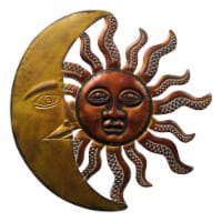 Benzara Celestial Sun and Moon Metal Wall Art Decor - Gold/Rust Brown