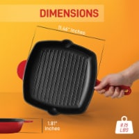 NutriChef NCCIES47 Cast Iron Square Skillet Grill Pan