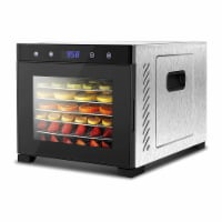 NutriChef Electric 600 Watts Countertop Food Dehydrator with 6 Trays, Silver - 1 Unit