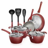 NutriChef 11 Piece Nonstick Ceramic Cooking Kitchen Cookware Pots & Pan Set, Red - 1 Unit