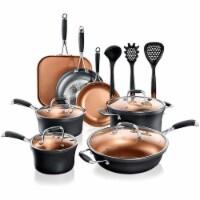 NutriChef 14 Piece Nonstick Ceramic Kitchen Cookware Pots and Pan Set, Black - 1 Unit