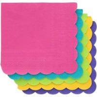 Juvale 2-Ply Paper Cocktail Napkins, Scalloped Edge, Tropical Colors (200 Pack) - PACK