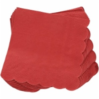 Scalloped Paper Cocktail Napkins in Bulk (Dark Red, 5 x 5 Inches, 100 Pack) - PACK