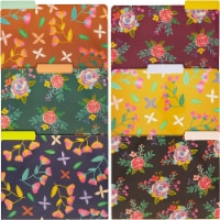 Decorative File Folders with 1/3 Cut Tabs, 6 Vintage Floral Designs (9.5 x 11.5 In, 12 Pack) - PACK