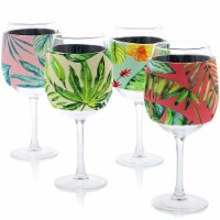 12x Neoprene Stylish Protective Wine Glass Beverage Sleeve Protector, 4 Designs - Pack