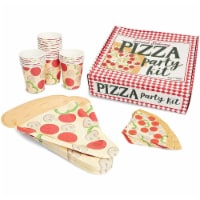 Pizza Party Supplies Kit, Includes Plates, Napkins and Cups (Serves 24 Guests) - PACK