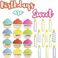 Juvale Classroom Cutouts - Birthday Cupcakes and Candles (63 Piece Set)