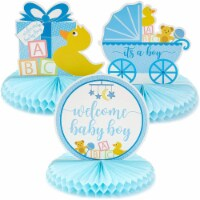 Sparkle and Bash Baby Shower Table Honeycomb Decorations for Boy (6 Pack) 3 Designs - PACK