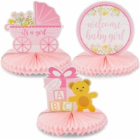 Sparkle and Bash Baby Shower Table Honeycomb Decorations for Girl (6 Pack) 3 Designs - PACK