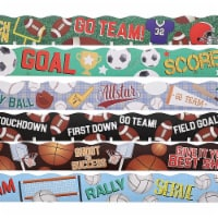 6 Assorted Rolls Sport Bulletin Board Strips, Classroom Decoration (39 feet per Design) - PACK