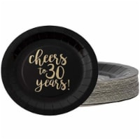 48x Disposable Gold Foil 30th Birthday Paper Plates Cheers to 30 Years Black, 9 - PACK