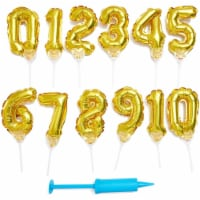 Gold Foil Balloon Number 0-9 Birthday Cake Toppers (6 in, 12 Pack) - PACK