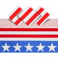 American Flag Plastic Tablecloth for 4th of July Party (54 x 108 In, 3 Pack) - PACK
