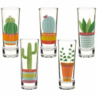 Party Shot Glasses, Cactus Print for Cinco de Mayo Tequila Fiesta, Set of 5