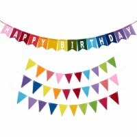 Happy Birthday Rainbow Banner Set, Colorful Party Decorations (4 Pieces) - PACK