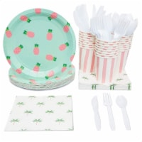 Blue Panda Pineapple Party Supplies Pack Plates Cups Napkins (Serves 24) - PACK