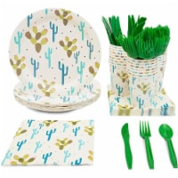 24 Set Party Disposable Dinnerware Plates Knife Spoons Fork Cups Napkins, Cactus - PACK