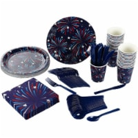 USA Firework Party Bundle, Plates, Napkins, Cups, Cutlery (24 Guests, 144 Pieces) - PACK