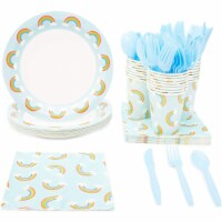 144 Pieces Rainbow Party Disposable Dinnerware Plates, Cutlery, Cups, Napkins - PACK