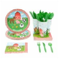 24 Set Kids Party Dinnerware with Plate Knife Spoon Fork Cup Napkin, Farm Animal - PACK