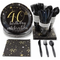 40th Birthday Party Bundle, Includes Plates, Napkins, Cups, and Cutlery 24 Guests(144 Pieces)