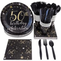 50th Birthday Party Dinnerware Bundle, Serves 24 Guests (144 Pieces)