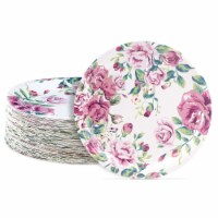 Blue Panda 80-Count Vintage Floral 9 Inch Paper Plates for Tea Party, Bridal and Baby Showers - PACK