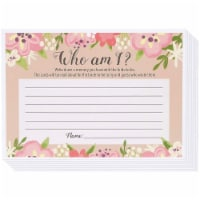 Floral Bridal Shower Who Am I Guessing Game, for Bachelorette Party (50 Pack, 5 x 7 Inches)