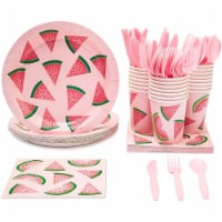 24 Set Watermelon Party Supply for Summer BBQ Birthday Poolside Party Pink/Green - PACK