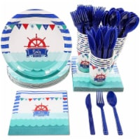 Disposable Dinnerware Set for 24 - Nautical Themed Baby Shower Party Supplies - PACK