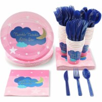 24 Set Party Disposable Dinnerware Plates Knife Spoon Cups Napkin, Twinkle Stars - PACK