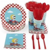 24 Set Party Disposable Dinnerware Plates Knife Spoon Fork Cup Napkins, Race car - PACK