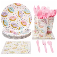 Donut Party Supplies, Paper Plates, Napkins, Cups and Plastic Cutlery (Serves 24, 144 Pieces)