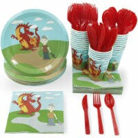 24 Set Party Disposable Dinnerware Plates Cups Napkins Knife Spoon Forks, Dragon - PACK