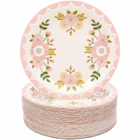 Pink Floral Paper Plates for Birthday Party, Bridal Shower (9 In, 80 Pack) - PACK