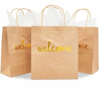Gold Foil Welcome Gift Bag with Tissue Paper (Kraft, 15 Pack) - PACK