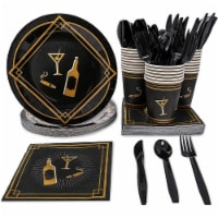 24 Set 1920s Birthday Celebration Party Supply Plate Napkin Cup Knife Spoon Fork - PACK