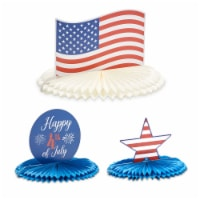 4th of July Party Centerpiece, Paper Honeycomb Decorations (3 Pack) - PACK
