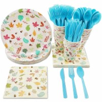 24 Set Dinnerware Autumn Leave Party Supply for Fall Theme Birthday Thanksgiving - PACK