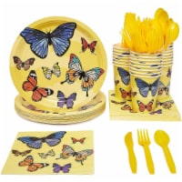 24 Set Butterfly Birthday Party Supply Pack Knives Spoon Fork Plate Napkin Cups - PACK