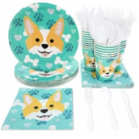 Corgi Dog Party Supplies – Serves 24 – Includes Plates, Dinnerware, Cups and Napkins - Pack