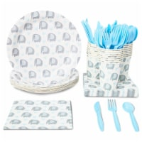 24 Set Dinnerware Party Supply for Baby Shower Birthday Elephant Animal Pattern - PACK