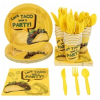 Taco Party Bundle, Includes Plates, Napkins, Cups, and Cutlery (24 Guests,144 Pieces)